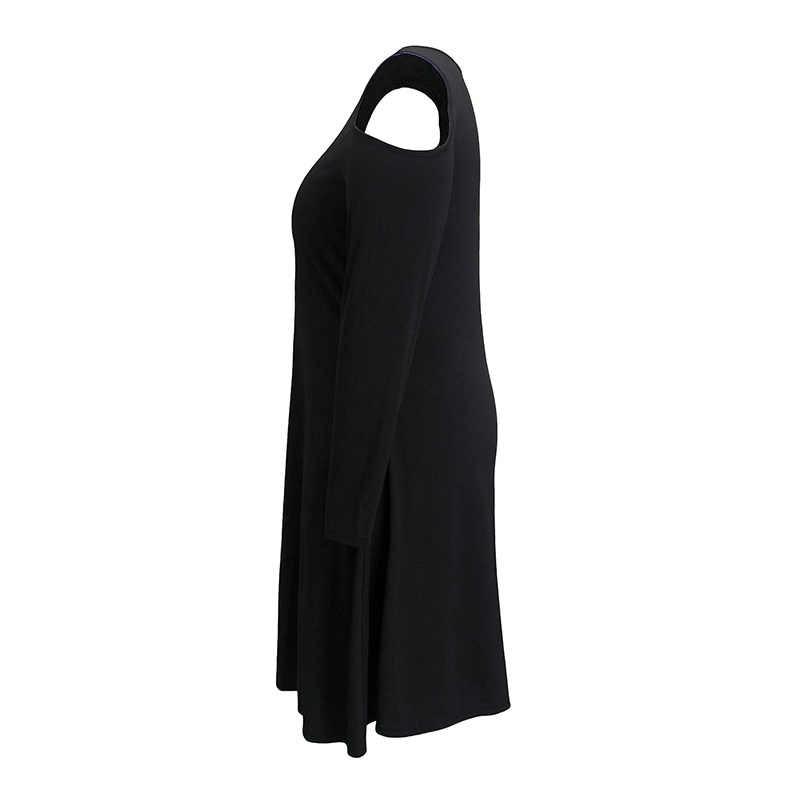2020 ilkbahar sonbahar artı boyutu parti elbise kadınlar için gevşek rahat büyük uzun kollu V boyun mini elbiseler siyah kırmızı 4XL 5XL 6XL 7XL