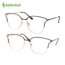 SOOLALA Metal Cat Eye Glasses Frame Women Alloy Clear Lens Computer Spectacle Prescription Eyeglasses Optical Frames