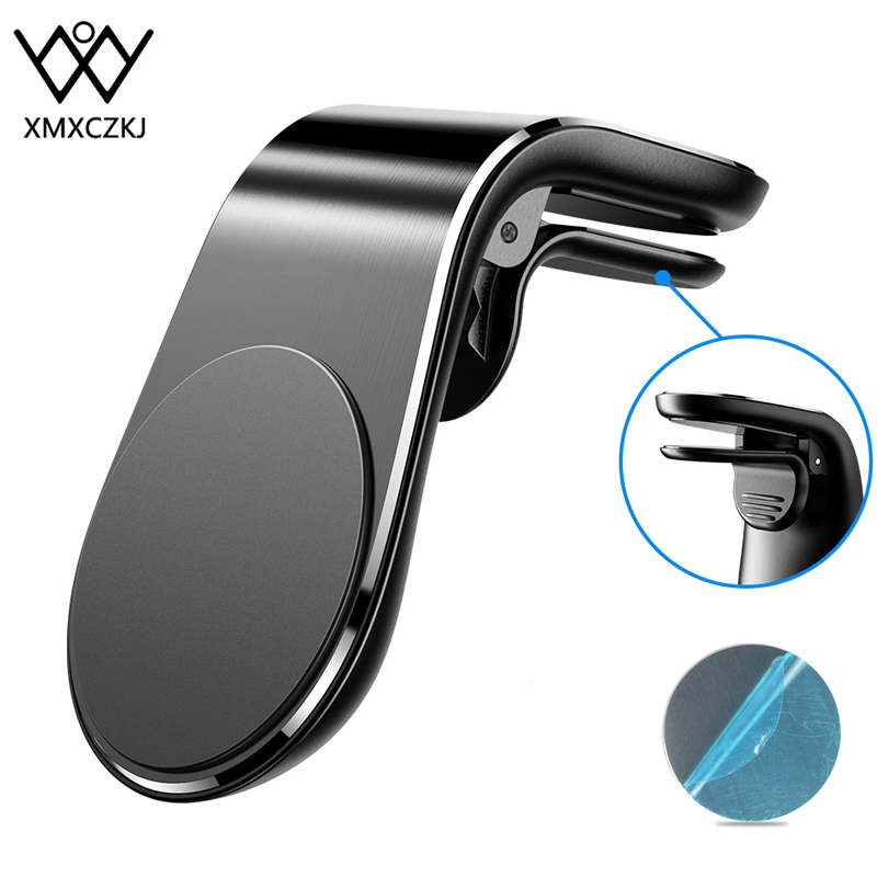 XMXCZKJ Luxury Magnetic Car Air Vent Clip Metal Magnetic Car Phone Holder For IPhone Samsung Xiaomi 360 Air Magnet Stand In Car