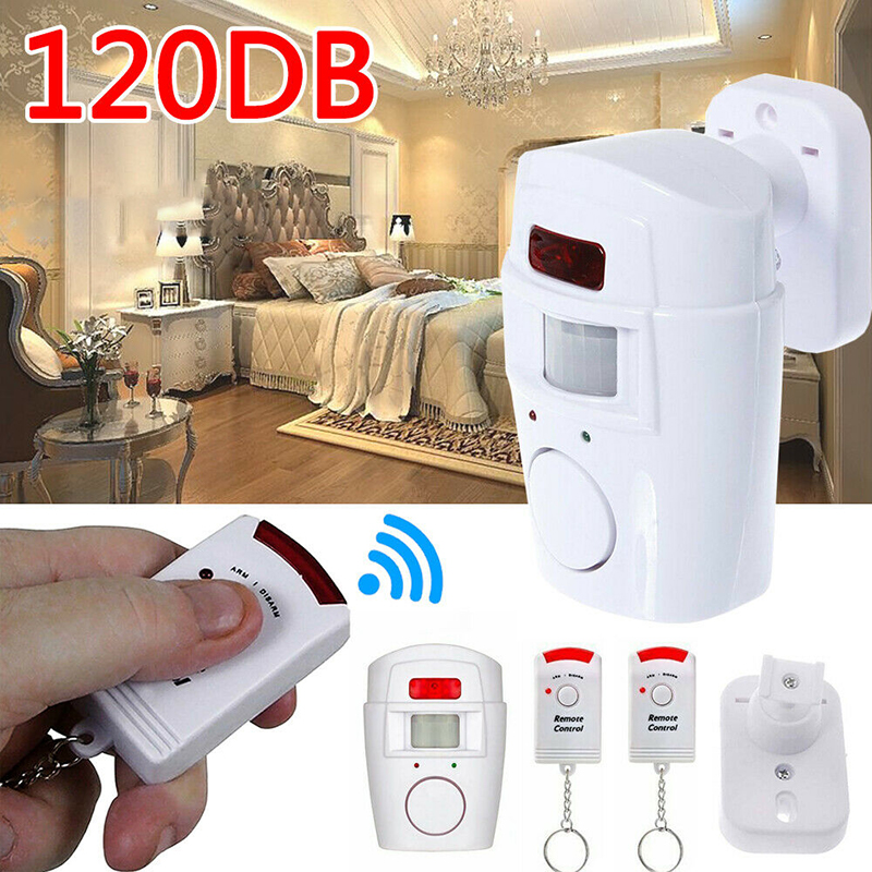 2 Remote Controller Wireless Home Security PIR MP Alert Infrared Sensor Alarm System Anti-theft Motion Detector Alarm 105DB