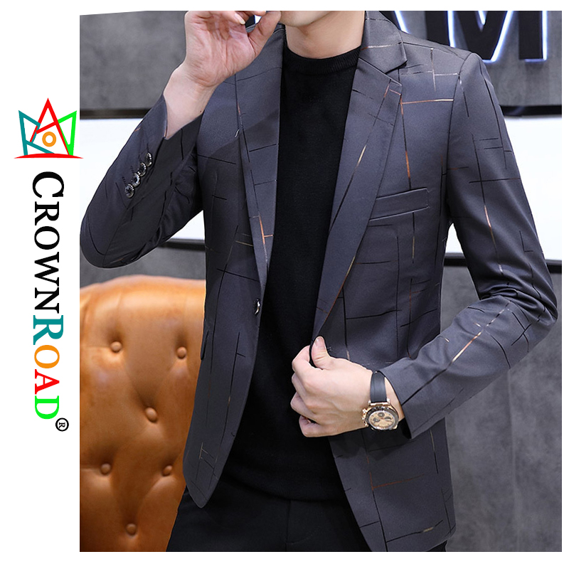 Crownroad 2020 new fashion casual small suit men slim suit comfortable personality handsome jacket, one-piece suit, modern suit 1