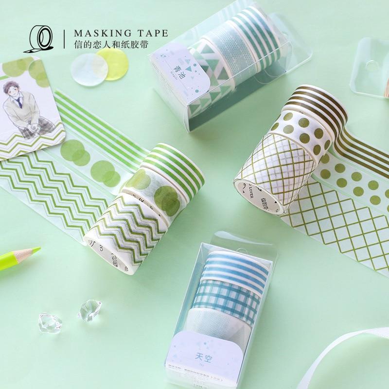 3pcs/pack Grid Dot Washi Tape Set Colorful Writable Paper Tearable Adhesive Masking Tapes