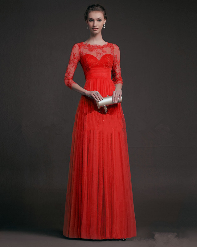 Tulle A-Line Long Prom Dress Elegant Long Sleeves Fashion Lace Sister Dress Female Pattern Red Wedding Party Dress Bridesmaid