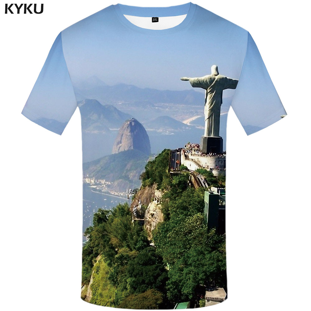 KYKU Jesus T Shirt Men Landscape T-shirts 3d Forest Shirt Print Rock Funny T Shirts Anime Clothes Short Sleeve Summer Fashion