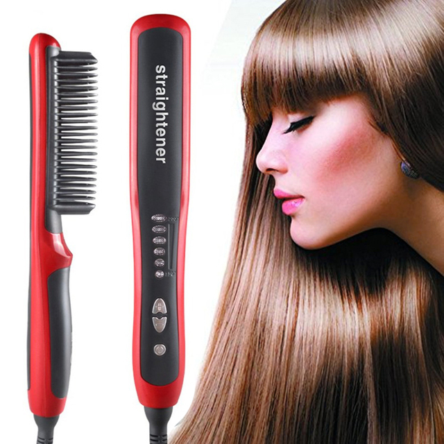 Multifunctional Hair Straightening Heat Hair Ceramic Curler Electric Straightener Hot Comb Hair Care for Men Beard Straightener 5
