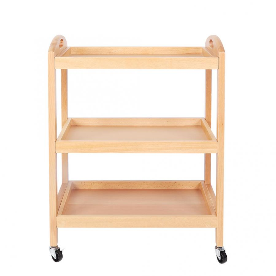 Household Kitchen 3-Tier Beech Cart Rolling Gadget Trolley Movable Storage Serving Trolley