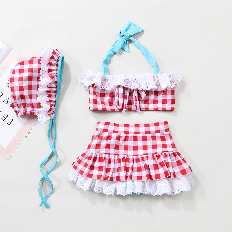 South Korea Little Girl KID'S Swimwear Cute Baby Split Type Plaid Lace Summer Princess Swimwear With Swim Cap
