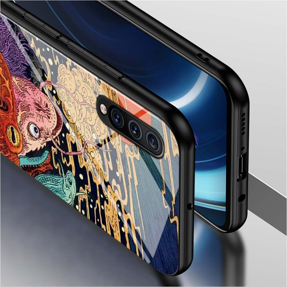 Black Cover Japanese Art for Samsung Galaxy A80 A70 A60 A50 A40 A30 A20E A20Core A10 Super Bright Glossy Phone Case in Fitted Cases from Cellphones Telecommunications