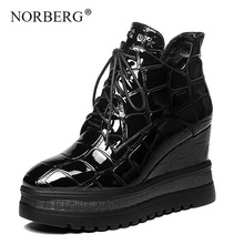 Norberg New Fashion Winter Women Boots black Shoes  Leather Snow Wedges Woman Booties