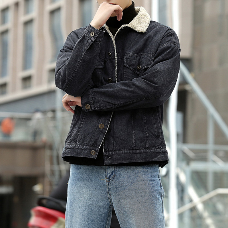 WENYUJH 2019 Fashion Men Winter Jean Jackets Outerwear Warm Denim Coats New Wool Liner Thicker Plus Size S-XXL