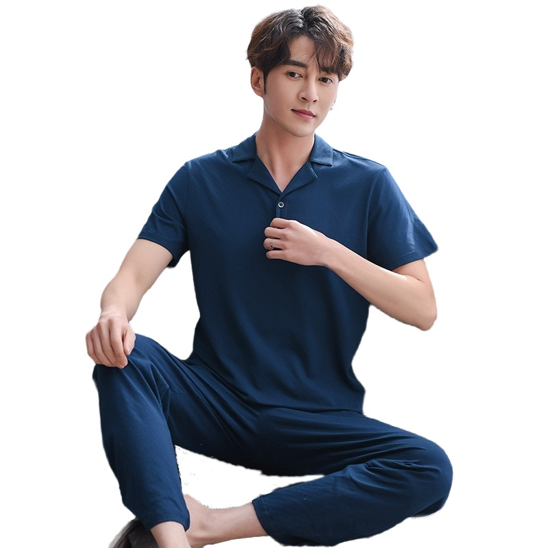 Men Pyjama 2020 New 100% Cotton Chinese Pajamas Set Short Sleeve Long Pants Lapel Solid Navy Men Sleepwear Leisure Plus Size Pjs