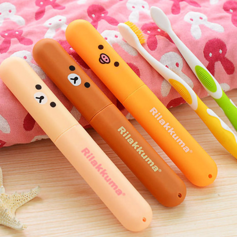 Travel Accessories Bear Toothbrush Tube Cover Case Cap Plastic Suitcase Holder Baggage Boarding Portable Packing Organizer