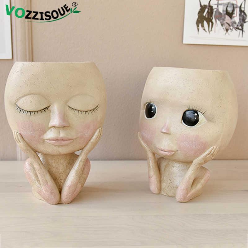 ホット北欧アート人間ヘッド花瓶顔植木鉢人形デザイン樹脂フラワーポットかわいい家の装飾の多肉植物プランターヘッド形の花瓶
