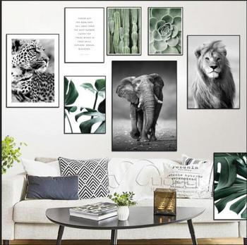 Nordic Plant Leaf  Poster Animals Canvas Painting Black White Wall Art Pictures For Living Room Modern Home Decorative Prints modern inspirational nordic flowers plants combination canvas painting zebra poster and prints living room decorative painting