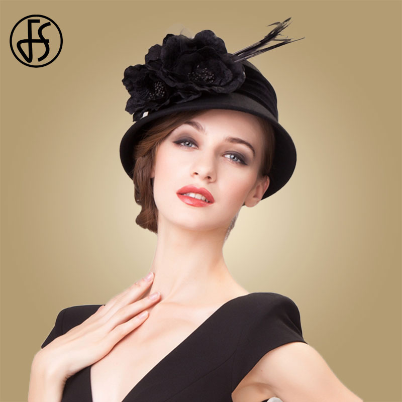 FS Winter Wool Hat For Women Elegant Black Wide Brim Fedora Felt Bowler Caps Vintage Feather Hats Cloche Ladies Church Fedoras
