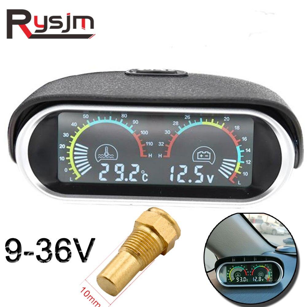 LCD voltmeter  water temperature gauge motor temp sensor car motorcycle auto for mitsubishi Horizontal Volt Meter 2 in 1 12v 24V