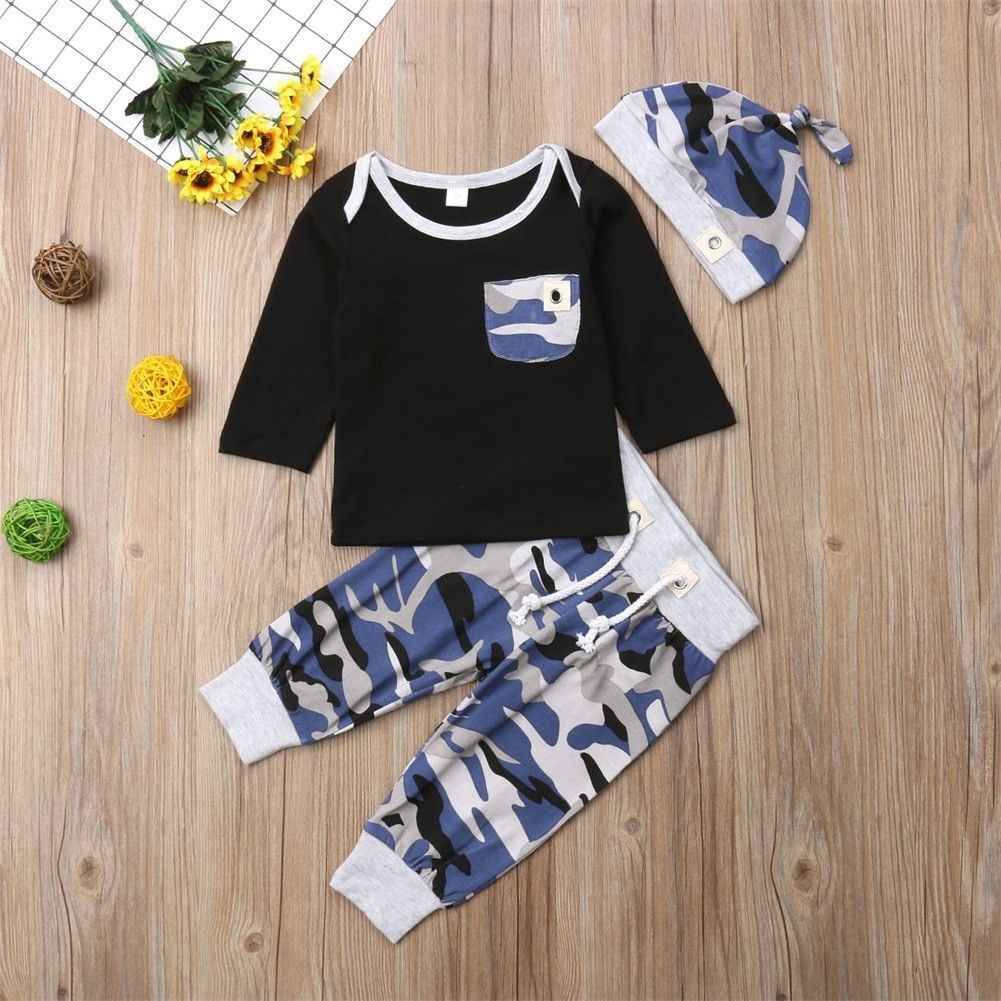 Pudcoco Herbst Neue Casual 3 stücke Baby Boy Kleidung Set Neugeborenen Jungen Camouflage Top Lange Hosen Hut Outfits
