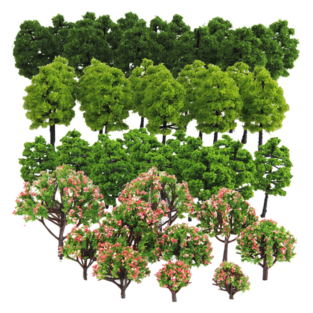 1:75-1:500 Model Tree kit 70Pcs 3-9cm Model Trees Architecture Buildings Street Park Garden Greenery Building Blocks Accessories image