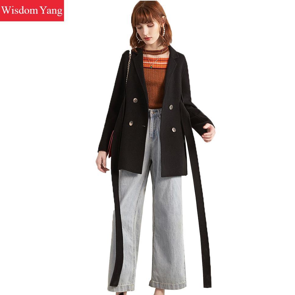 Зимнее кашемировое шерстяное пальто, женские куртки, черный длинный пояс, женский костюм, пальто, женская Свободная Осенняя верхняя одежда,