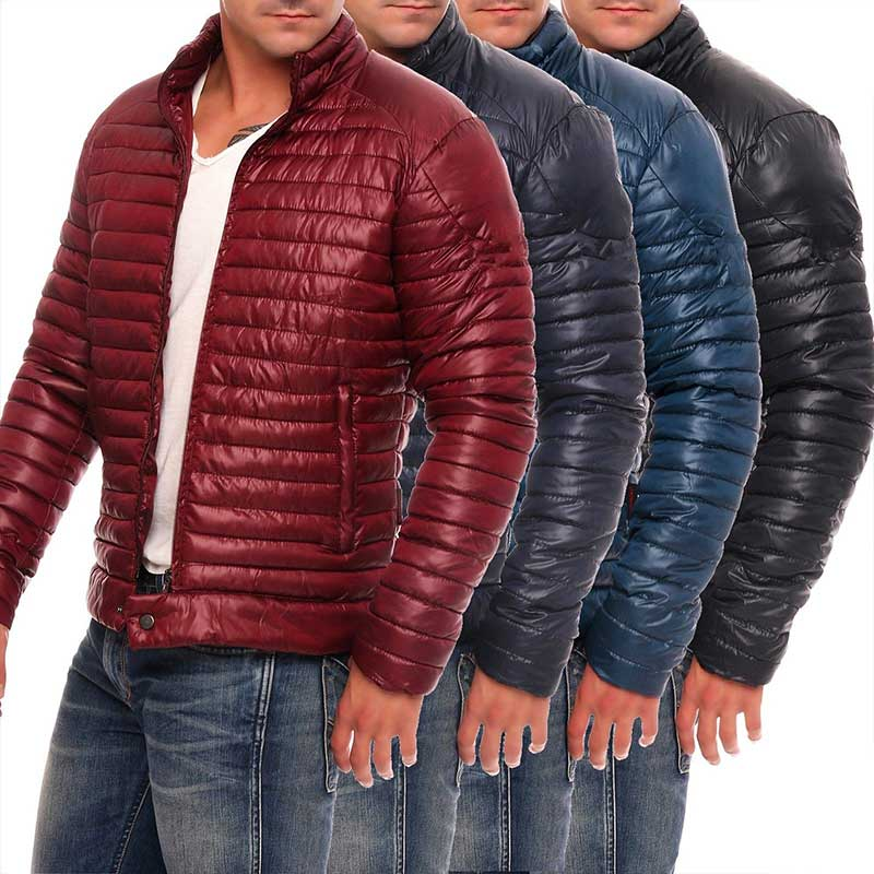 2019 Men Winter Casual New Thick Padded Jacket Zipper Slim Male Fashion Coats Men's Parka Outwear Warm Coat
