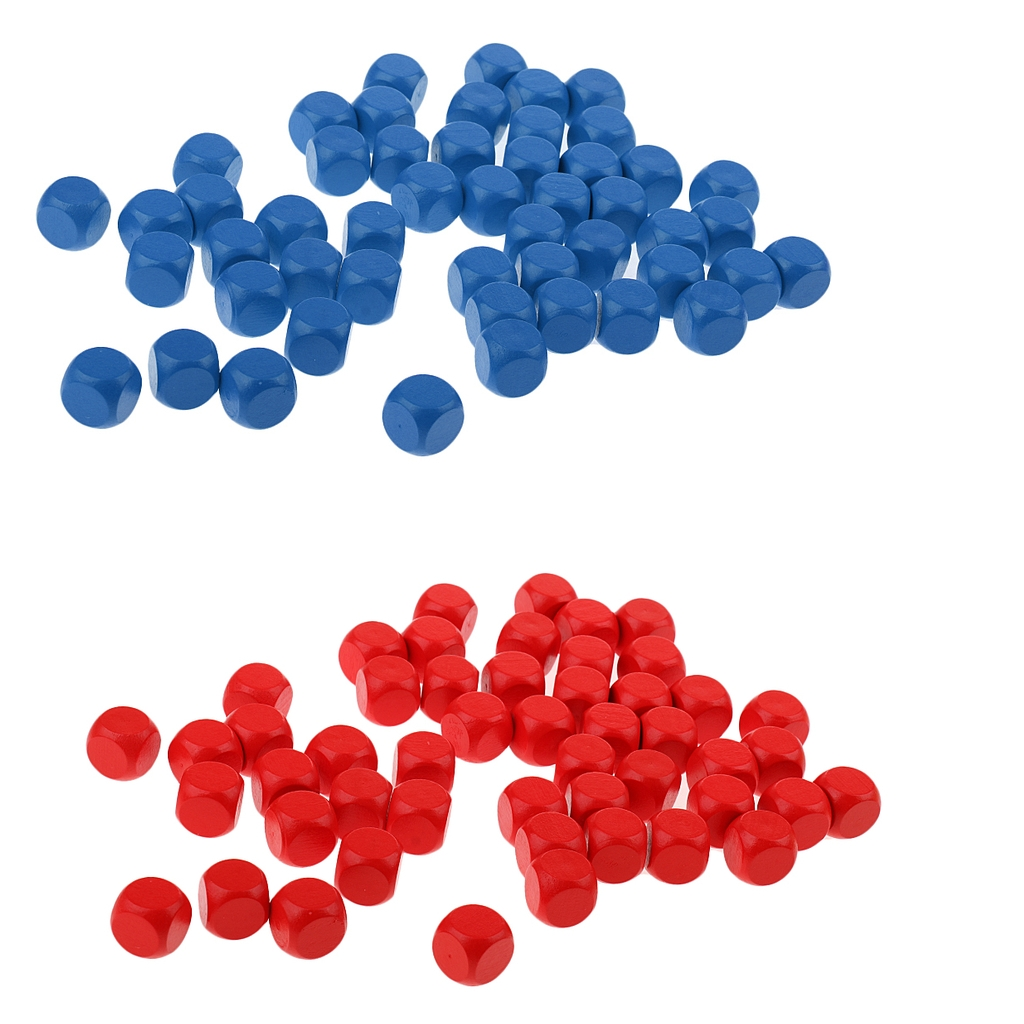 100Pcs D6 Wooden Dice Round Wooden Dice Wooden Blank Red and Blue Dice Set