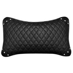 1 szt. Skórzana poduszka do fotela samochodowego oddychająca przód samochodu poduszka pod szyję zagłówek Auto poduszka zabezpieczająca samochód-czarna