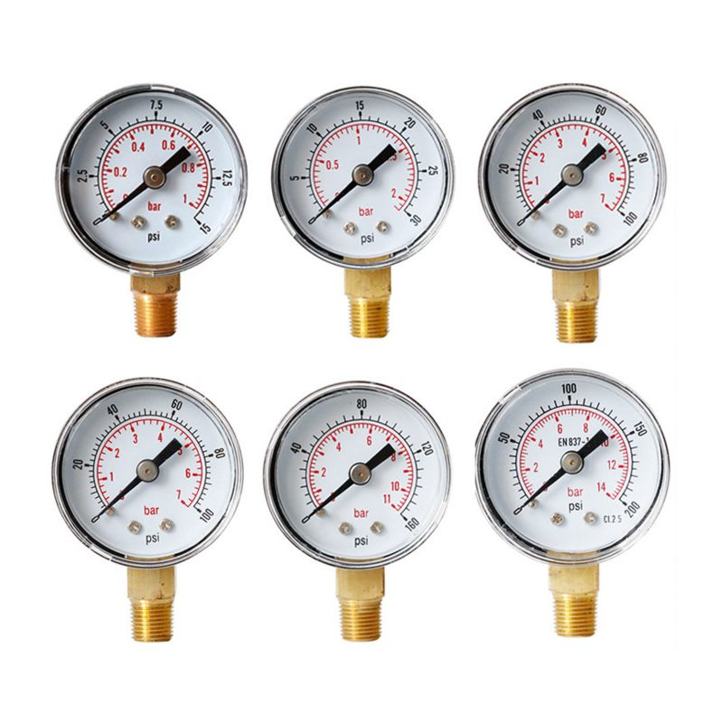 DANIU TS-Y408-15/30/60/100/160/200/300psi 52mm Dial 1/8 BSPT Pressure Gauge