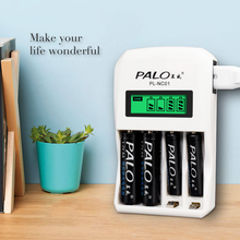 Palo 4 slots carregador inteligente rápido display lcd carregador de bateria para aa aaa nimh nicd rechargeable batteraies uso