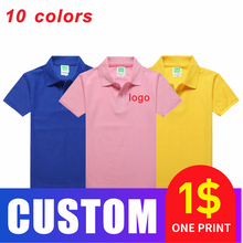 Summer Children's Cotton Breathable Polo Shirt Custom Printed and Embroidered Outing Organization Group Clothing