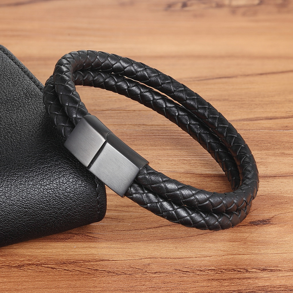 Classic Design Antique Black Braided Bracelet Personality Gift For Men Genuine Leather Bracelet Bangle Birthday Party Jewelry