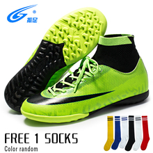 цена на New Trend Adults Men's Outdoor Soccer Cleats Shoes High Top TF/FG Football Boots Training Sports Sneakers Shoes Plus Size 28-44