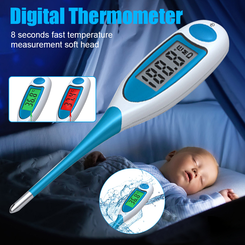 Digital Body Thermometer Flexible Soft Head 2 Colors Backlight Waterproof Armpit Temperature Meter Children Adults TSH S