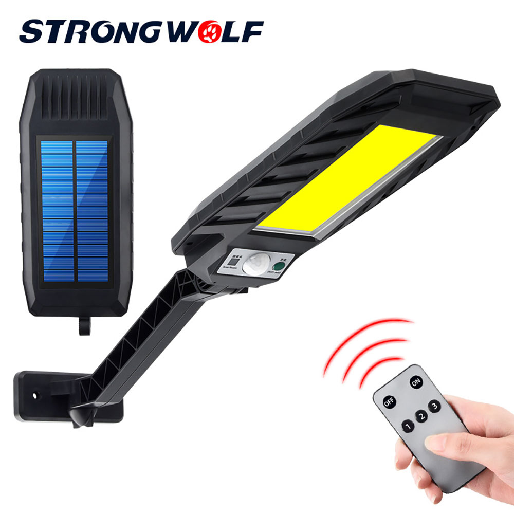 <font><b>60</b></font> SMD/180/120 COB <font><b>Solar</b></font> Motion Sensor Wall Light Outdoor Street Lamp Waterproof Smart Sensing Garden Lamp with Remote Control image