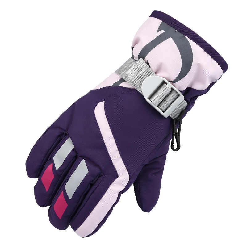 冬の屋外子供のミトンプラスベルベット厚い防水子供のスキー手袋暖かい冬登山手袋手袋