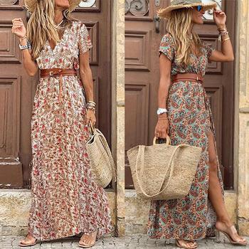 HOT SALE!! Boho Women V Neck Short Sleeve Paisley Print Belt Large Hem Beach Long Dress print dress summer beach dress with belt daisy print overlap hem dress