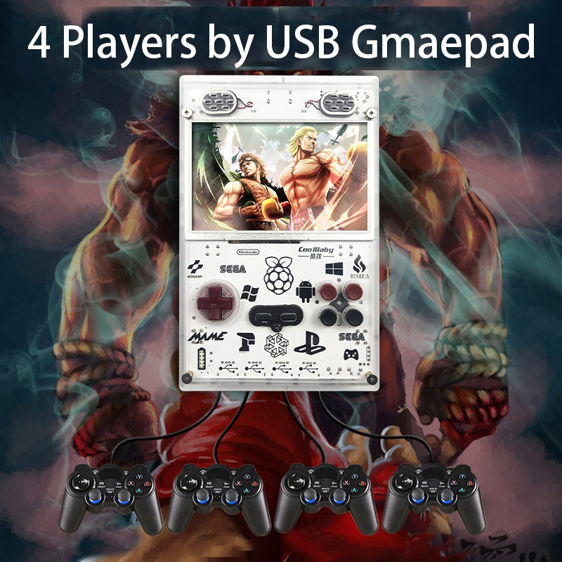 raspberry pi 5.0 Inch IPS Screen Handheld Console for Raspberry Pi Retro Game Player Built-In over 11000 Games Video Game Console(US Plug) (2)