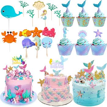 Cyuan Happy Birthday Cake Topper Mermaid Party Cupcake Toppers Kids Birthday Party Babyshower Girls Cake Decoration Supplies stitch animal birthday cake topper kids toys boys baby children birthday party small gifts decoration party cupcake toppers