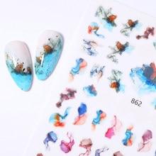 Mármore blooming adesivos para unhas manicure cor japonesa costura design unhas arte adesivos fita adesiva decoração do prego