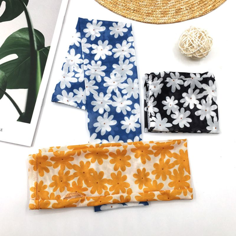 Korean Women Summer Cooling Arm Sleeves Cover Little Daisy Flower Print Ice Silk Sun Protection Driving Cycling Outdoor Gloves