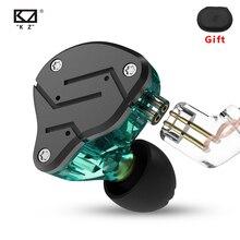 Kz zsn fones de ouvido 1dd + 1ba híbrido no monitor com cancelamento ruído alta fidelidade música esportes estéreo baixo fone com microfone