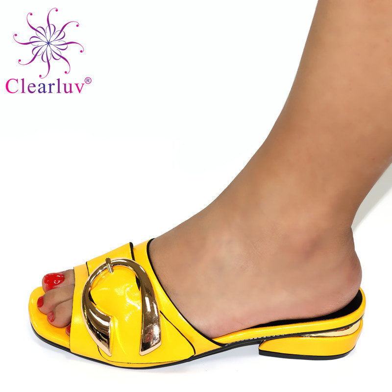 Yellow Color Wedding <font><b>Shoes</b></font> for Women Italian High Heels Autumn Slipper for Wedding African Special <font><b>Materials</b></font> High Heels 3CM image