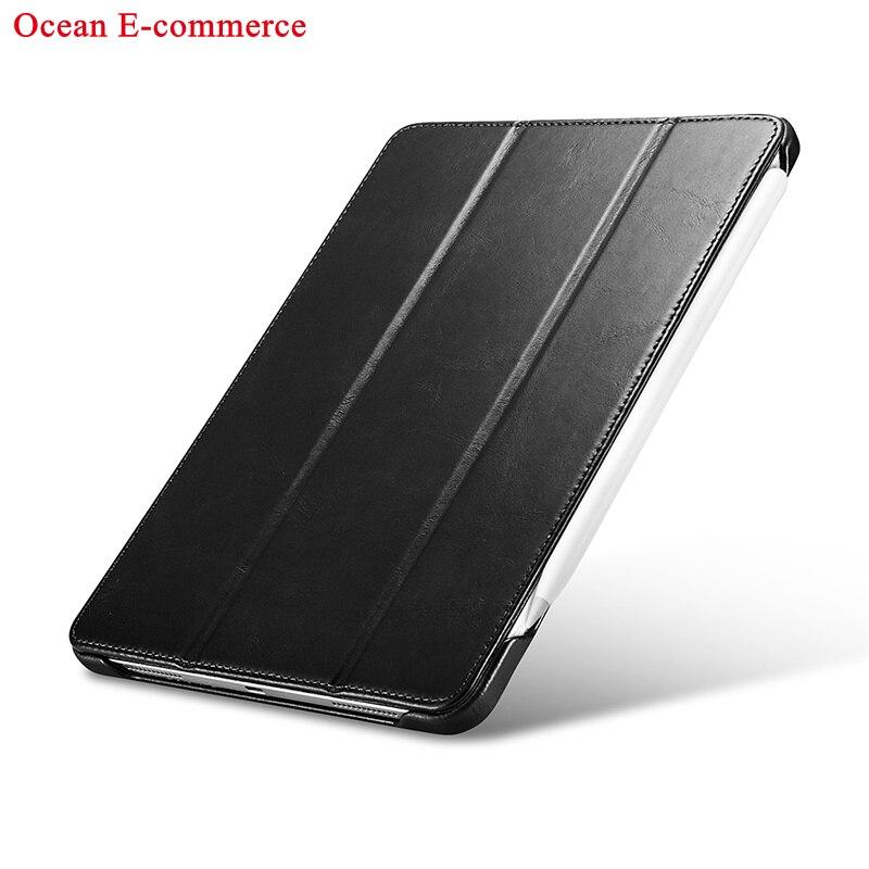 Black Black Original ICARER Luxury Genuine Leather Case For Apple iPad Pro 11 2020 Vintage Protective Magnet Smart