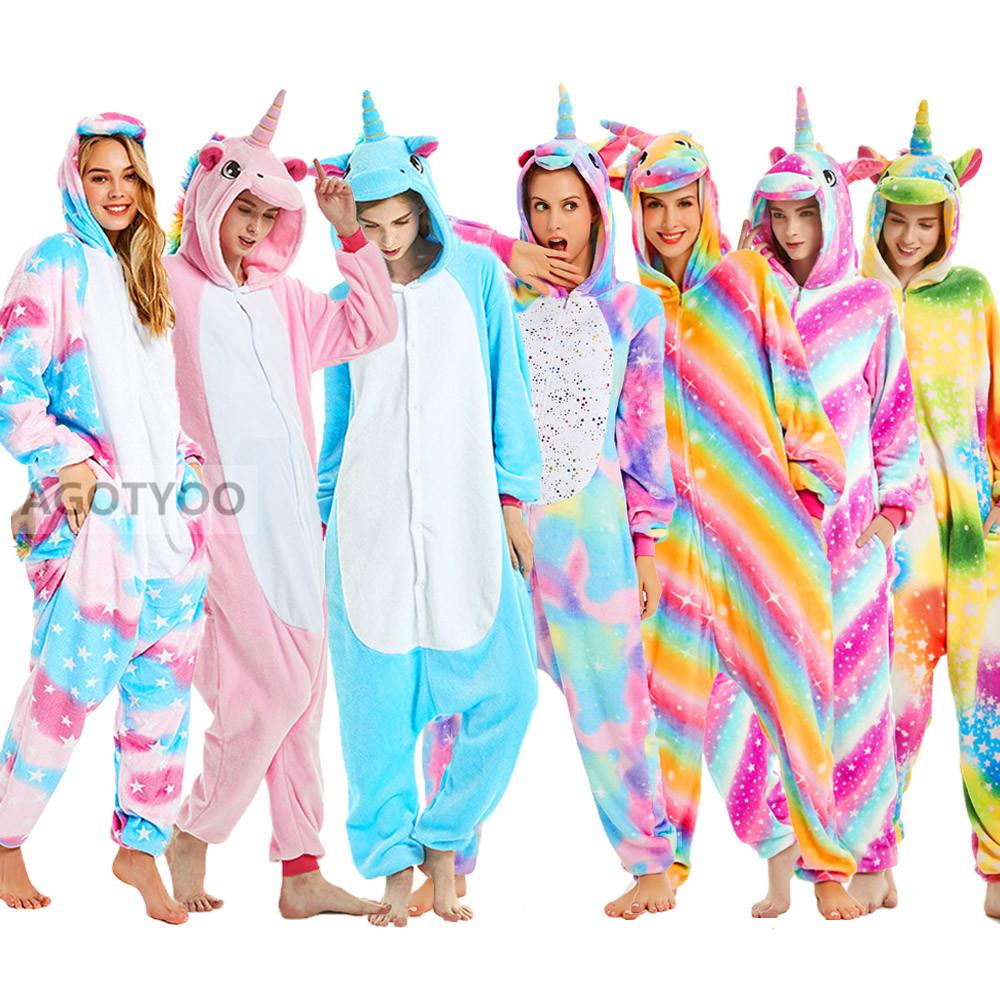 Unicorn Onesies Unisex Winter Cute Panda Totoro Skeleton Onesies Women Nightwear Anime Costumes Adults Flannel Sleepwear Pajamas