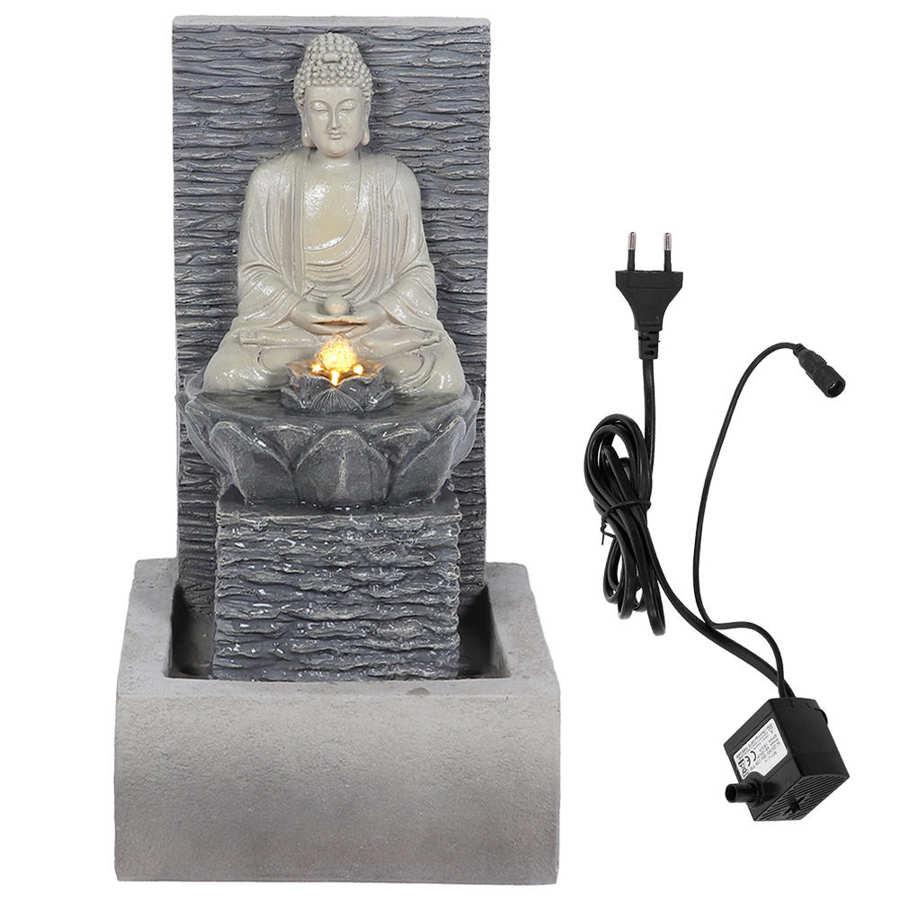 Pulpit fontanna Ornament żywica budda fontanna z podświetleniem LED płynąca woda fontanna z pompą wodną do domu stół biurowy