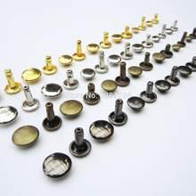 50 sets Metal Double Cap Round Rivet Spike Stud Leather craft Belt Wallet Bag Clothes Decorative DIY Repair Nail 4 color 8 size
