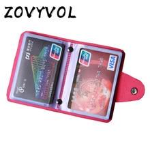 Zovyvol 24 bits titular do cartão de crédito dos homens das mulheres id carteira sólida botão colorido pequena bolsa de couro macio bussiness dos homens saco de dinheiro