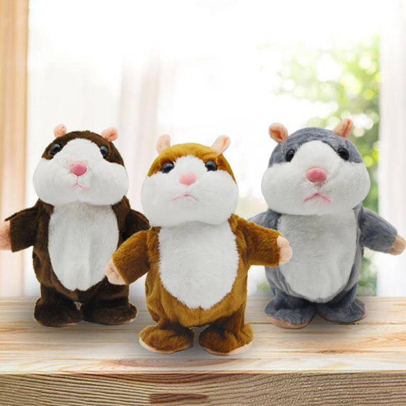 Kids Toys Talking Hamster Mouse Stuffed Plush Animal Funny Electronic Walking Speaking Doll Toy Sound Record Educational Toys
