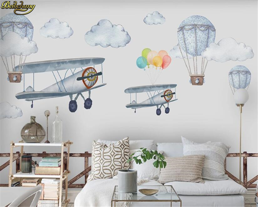 Beibehang Custom Wallpaper Mural Nordic Minimalist Hand-painted Cartoon Airplane Balloon Children's Room Backgro Papel De Parede