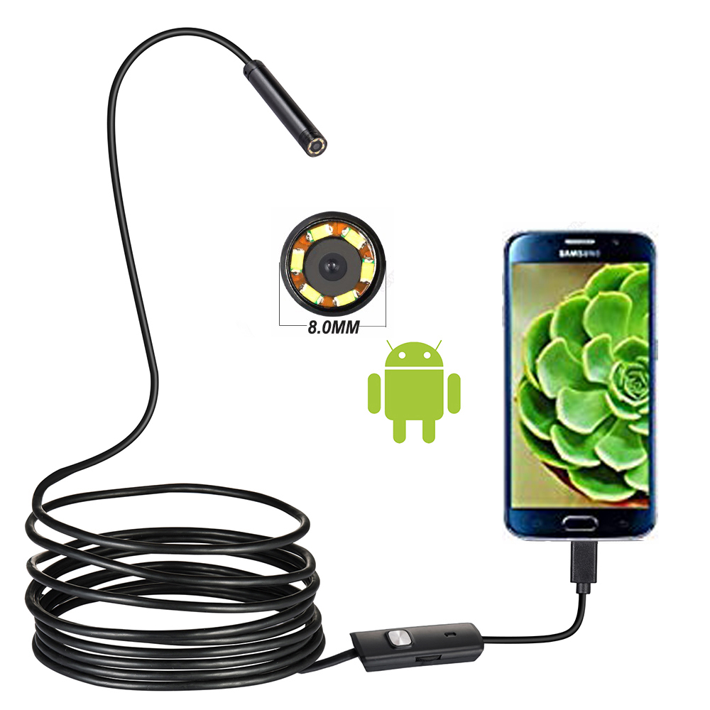 720P 8MM OTG Android Endoscope Camera  1M Video Endoscope Borescope Inspection Camera Windows USB Endoscope For Car