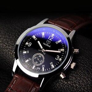 Image 2 - yazole Quartz Men Watch Male Leather Strap Analog Business Casual Thin Luminous Hands Waterproof Wrist Watch for Men Wristwatch